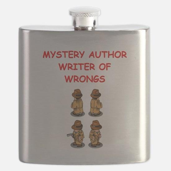 mystery writer author joke gifts t-shirts Flask