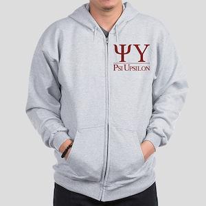 Psi Upsilon Fraternity Letters in Red w Zip Hoodie