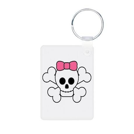 Girly Skull Aluminum Photo Keychain