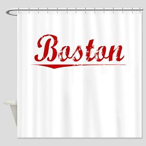 Boston, Vintage Red Shower Curtain