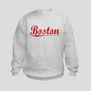 Boston, Vintage Red Kids Sweatshirt