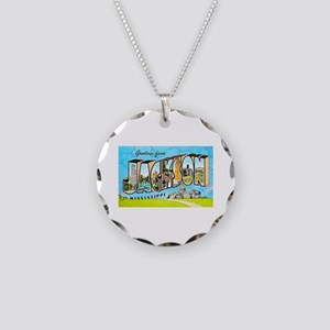 Jackson Mississippi Greetings Necklace Circle Char