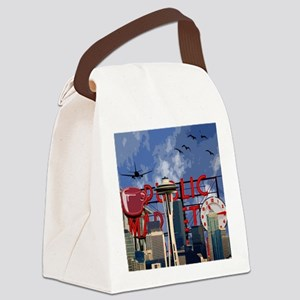 Seattle Icons Canvas Lunch Bag
