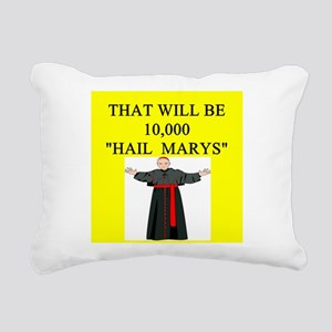 hail mary catholic humor Rectangular Canvas Pillow