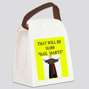 hail mary catholic humor Canvas Lunch Bag