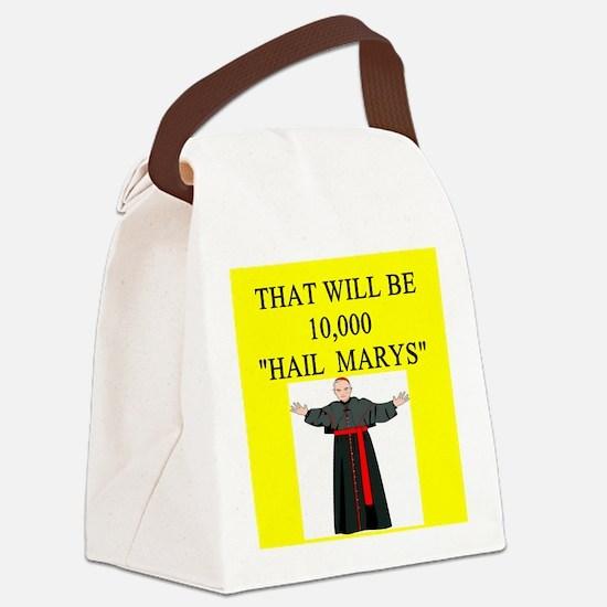 hail mary catholic humor Canvas Lunch Bag