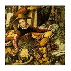 Medieval Vegetable Vendor Ceramic Tile