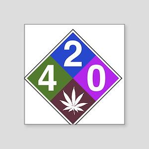 "420 caution blue Square Sticker 3"" x 3"""