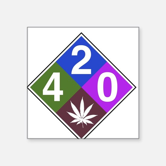 "420 caution blue.png Square Sticker 3"" x 3"""
