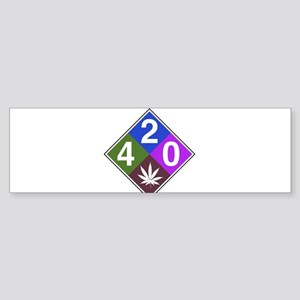 420 caution blue Sticker (Bumper)