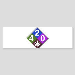 420 caution blue Sticker (Bumper)