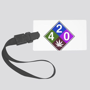 420 caution blue Large Luggage Tag