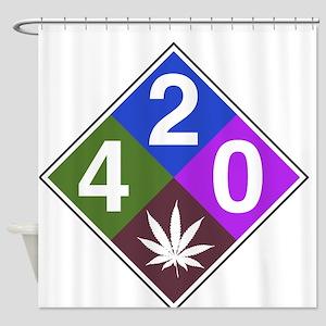 420 caution blue Shower Curtain