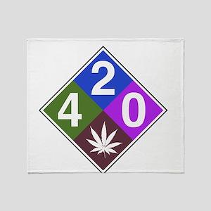 420 caution blue Throw Blanket