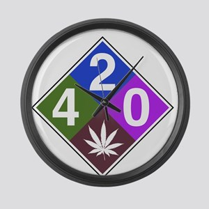 420 caution blue Large Wall Clock