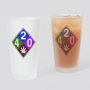 420 caution blue Drinking Glass