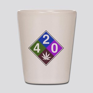 420 caution blue Shot Glass