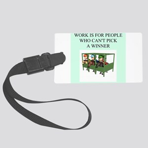 funny jokes sports horse racing Large Luggage Tag