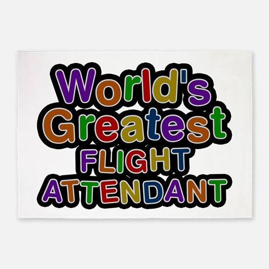 World's Greatest FLIGHT ATTENDANT 5'x7' Area Rug