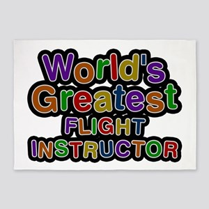 World's Greatest FLIGHT INSTRUCTOR 5'x7' Area Rug