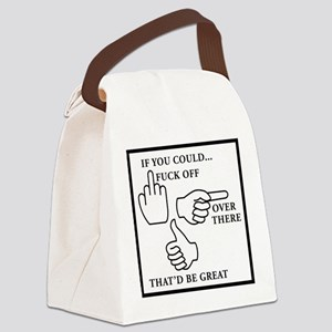 FUCK OFF black Canvas Lunch Bag
