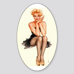The Pin Up Girl. Sticker (Oval)