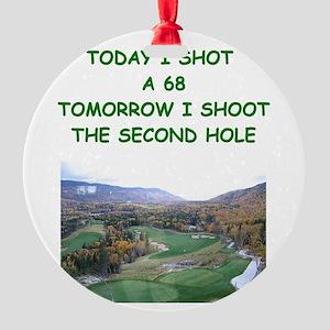 funny golf golfer golfing joke Round Ornament