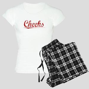 Cheeks, Vintage Red Women's Light Pajamas