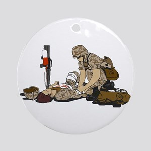 Wounded Warrior Support the Troops Ornament (Round
