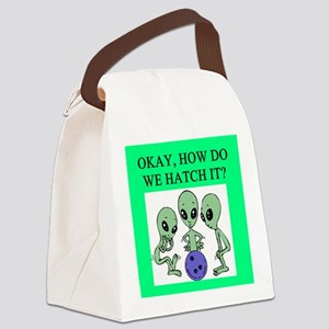 funny alien ufo area 51 bowling joke Canvas Lunch