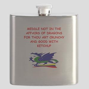 funny mustard dragon ketchup joke Flask