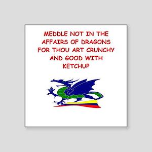 funny mustard dragon ketchup joke Square Sticker 3