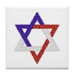 Red White Blue Star of David Tile Coaster