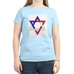 Red White Blue Star of David Women's Pink T-Shirt