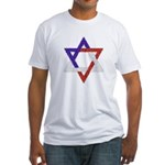 Red White Blue Star of David Fitted T-Shirt