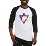 Red White Blue Star of David Baseball Jersey