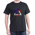 Red White Blue Star of David Black T-Shirt