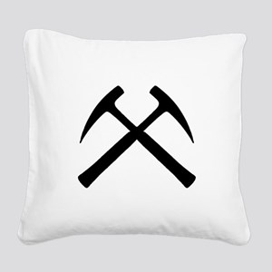 Crossed Rock Hammers Square Canvas Pillow