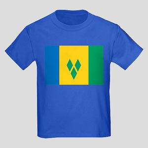 Saint Vincent Grenadines Flag Kids Dark T-Shirt
