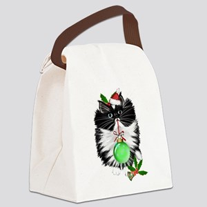 A Tuxedo Merry Christmas Canvas Lunch Bag