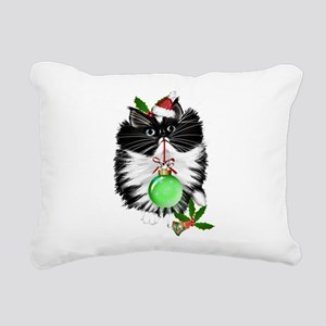 A Tuxedo Merry Christmas Rectangular Canvas Pillow