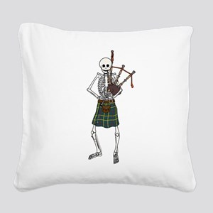 Bagpiper Skeleton Square Canvas Pillow