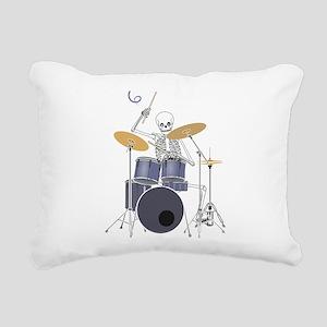 Skeleton Drummer Rectangular Canvas Pillow