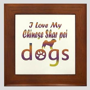 Chinese Shar Pei designs Framed Tile