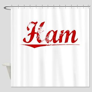 Ham, Vintage Red Shower Curtain