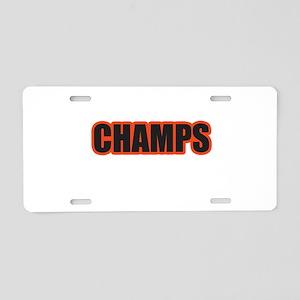 Black and Orange Champs Aluminum License Plate
