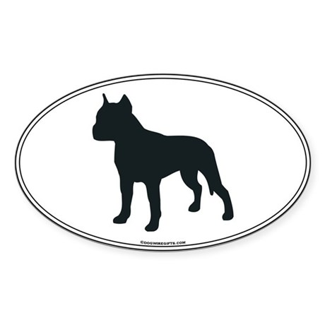 Am Staff Terrier Silhouette Oval Sticker