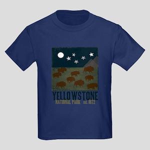 Yellowstone Park Night Sky Kids Dark T-Shirt