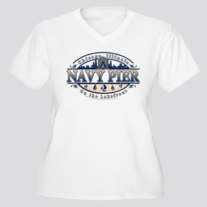 Navy Pier Oval Stylized Skyline design Women's Plu