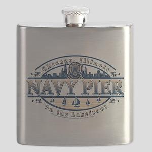 Navy Pier Oval Stylized Skyline design Flask